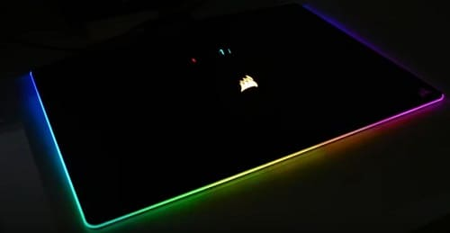 Corsair MM800 Gaming Mouse Pad lit up - best gaming mat reviews - customized lighting